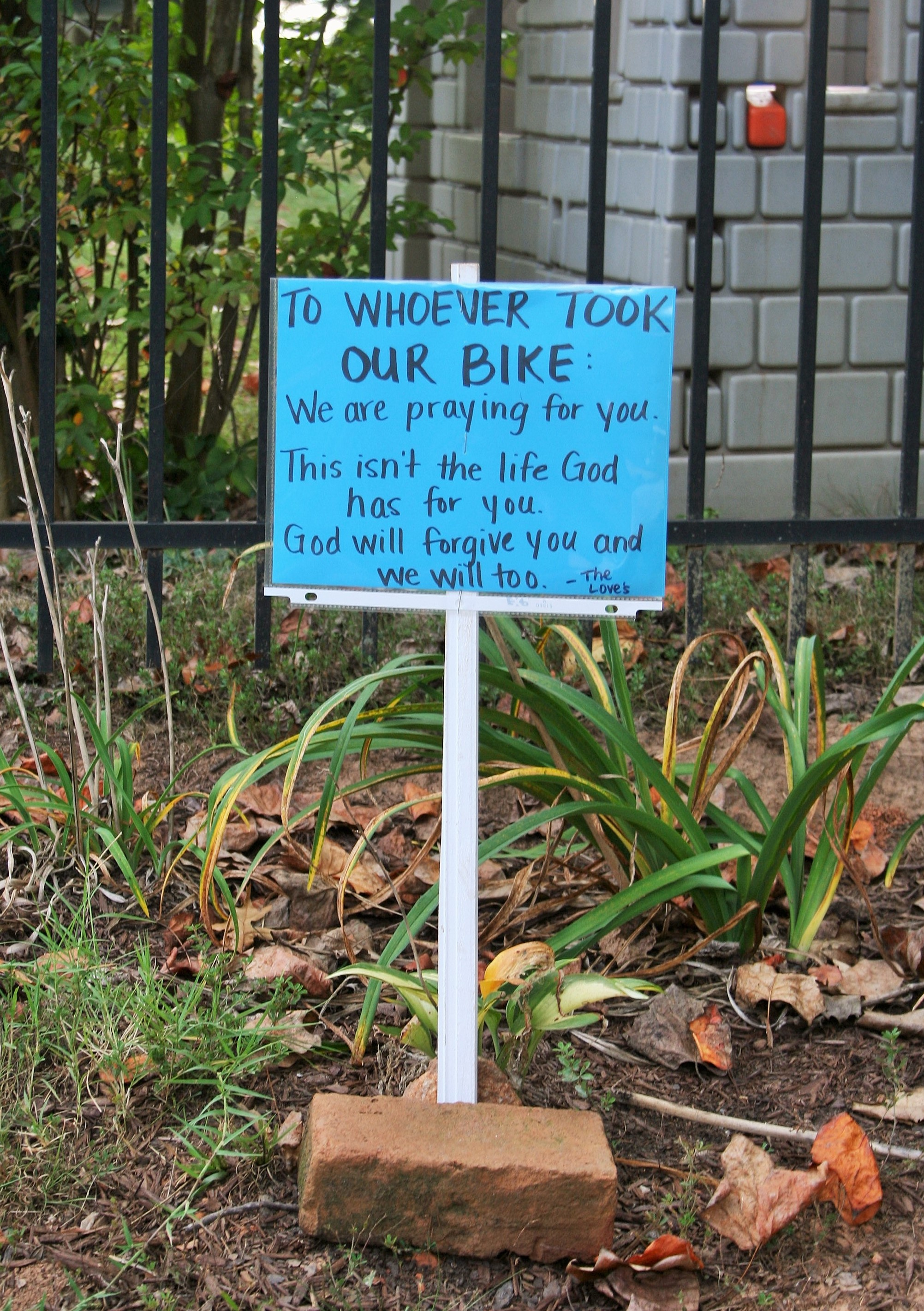To Whoever Took our Bike: We are Praying for You
